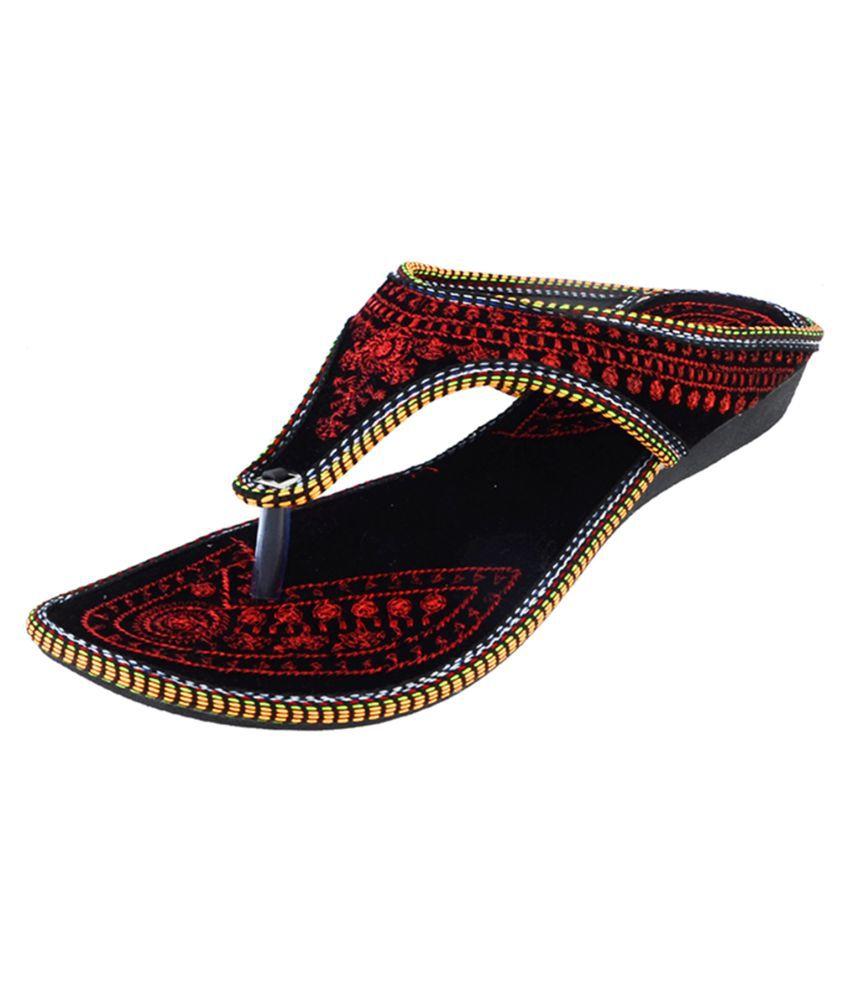 HUE Red Flat Ethnic Footwear