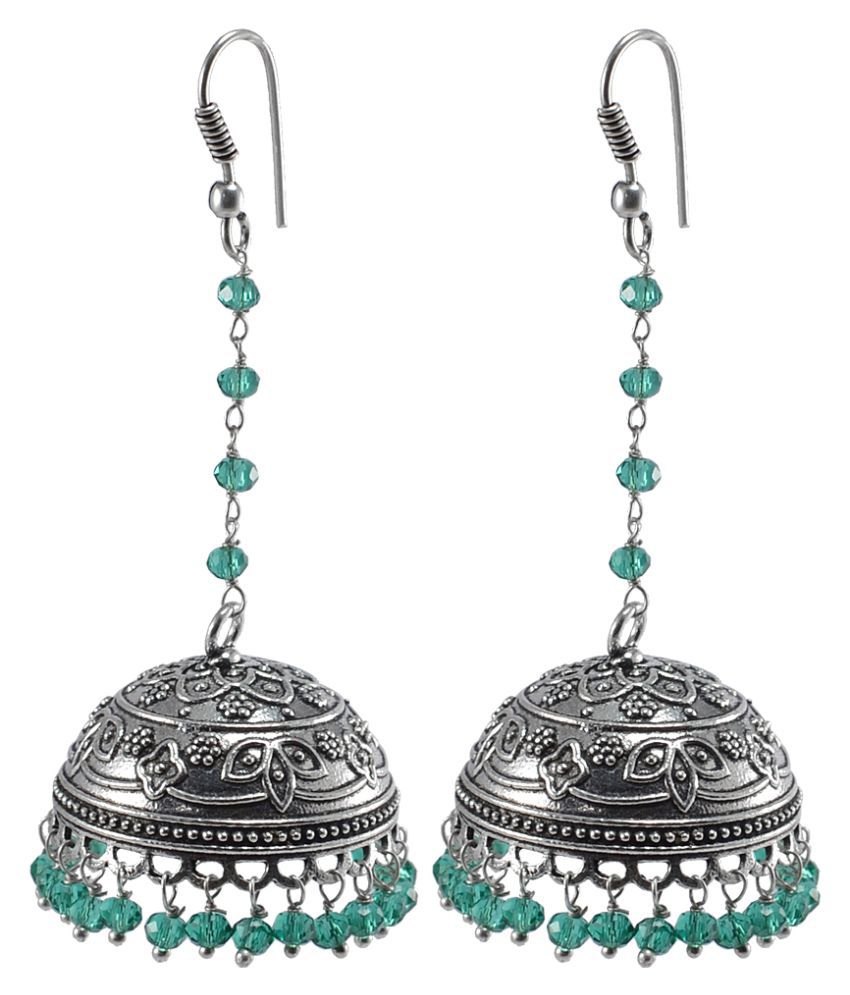Silvesto India Ethnich Jhumka With Small Beads Green Aqua Crystal-Jaipur Collectible PG-106671