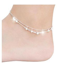 Ziory 1Pcs. Silver Color Girl Elegant Little Star Ladies Chain Fashion Sky Stars Anklets Chain Women Ankle Bracelet Barefoot Sandal Beach Foot Jewelry