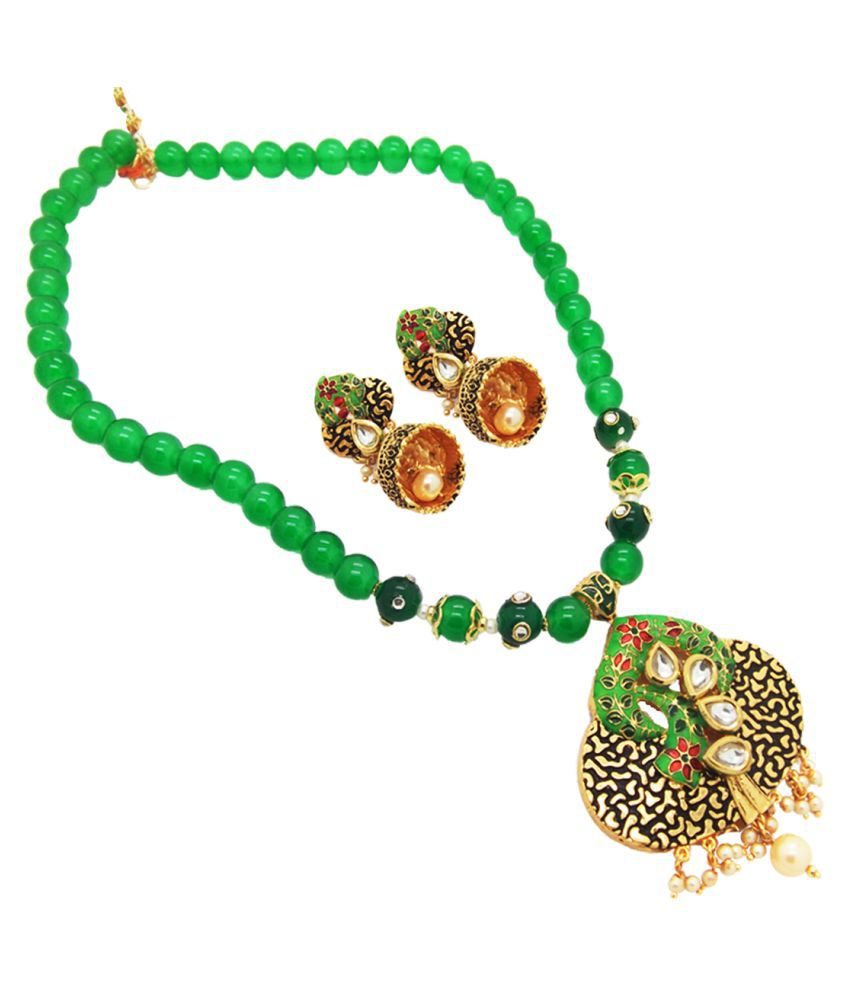 9blings Antique style Green Kundan meenakari Diwali Collection Pearl Bead Necklace Set