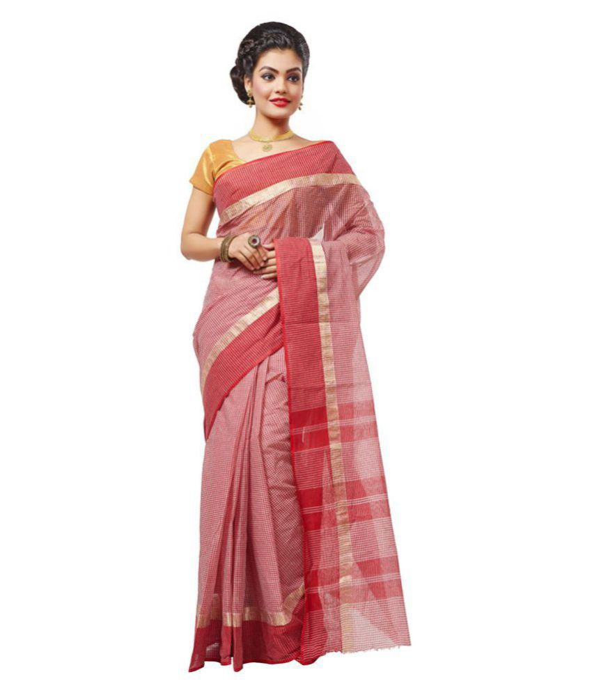 Slice of Bengal Red and Pink Cotton Saree