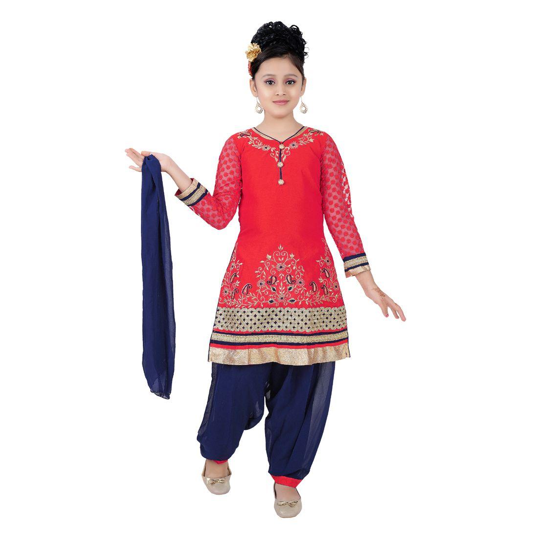 Saarah Red And Blue Patiala Suit Set - Buy Saarah Red And Blue ...