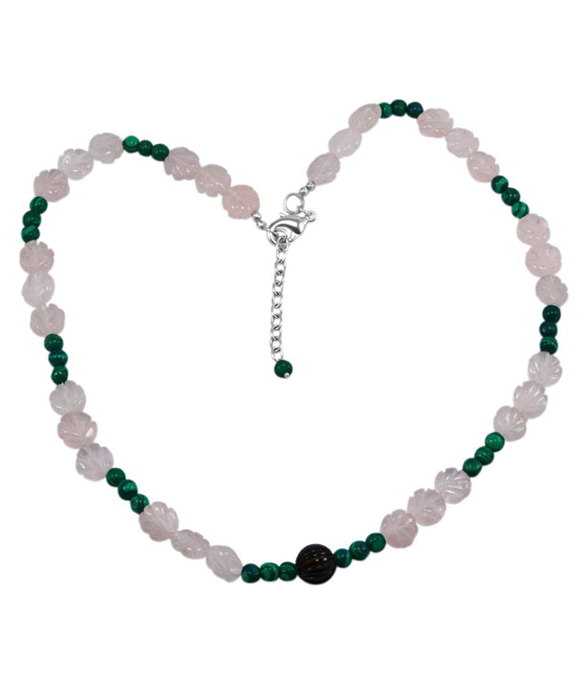 Silvesto India Rose Quartz & Malachite Necklace PG-131166
