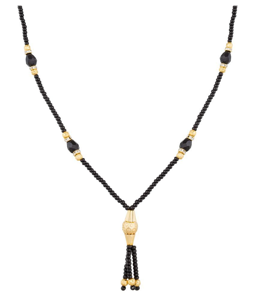 Aadita Fashion Jewellery New Look Black Beads Mangalsutra with Chain
