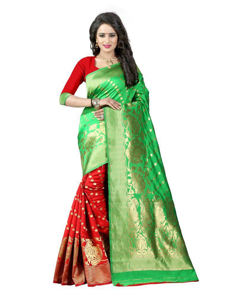 Jay khodal green Art Silk Saree