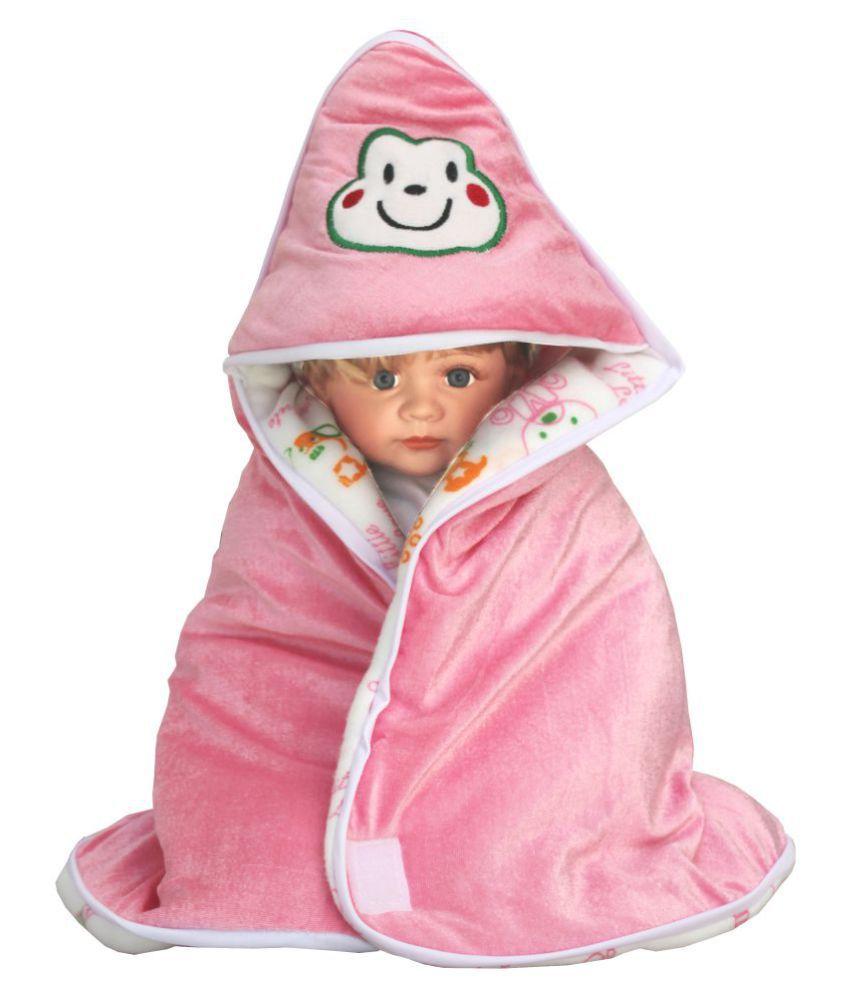 My NewBorn Pink Fleece Baby Wrap cum blanket ( 66 cm × 66 cm - 1 pcs)