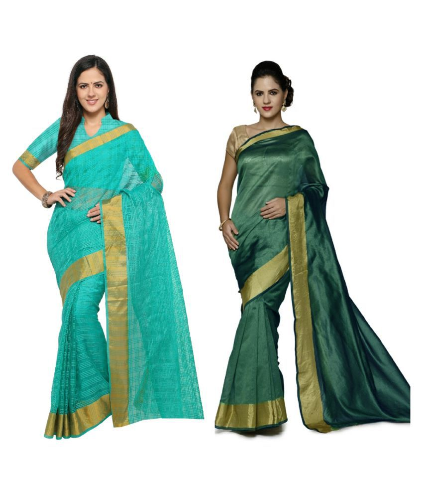 sarvagny clothing Multicoloured Silk Saree Combos