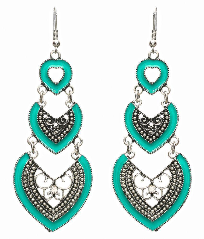 Casual Wear Earrings for Women in Sea Green – Fancy Long Hanging Everyday Use Oxidised Earrings for Girls