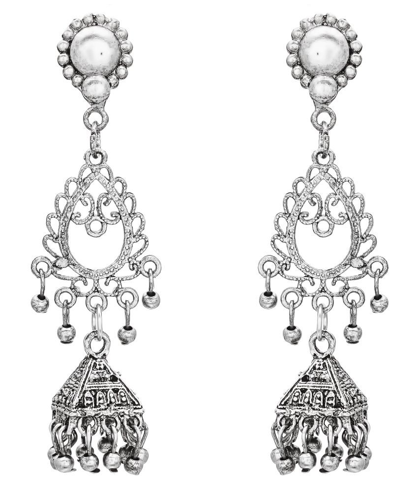 Aadita Traditional German Oxidised Chandelier Earrings for Women and Girls