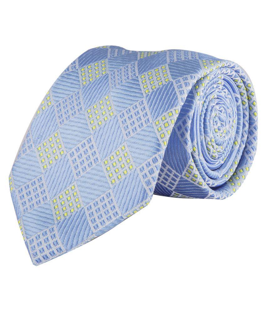 DAPPER HOMME Blue Abstract Polyester Necktie