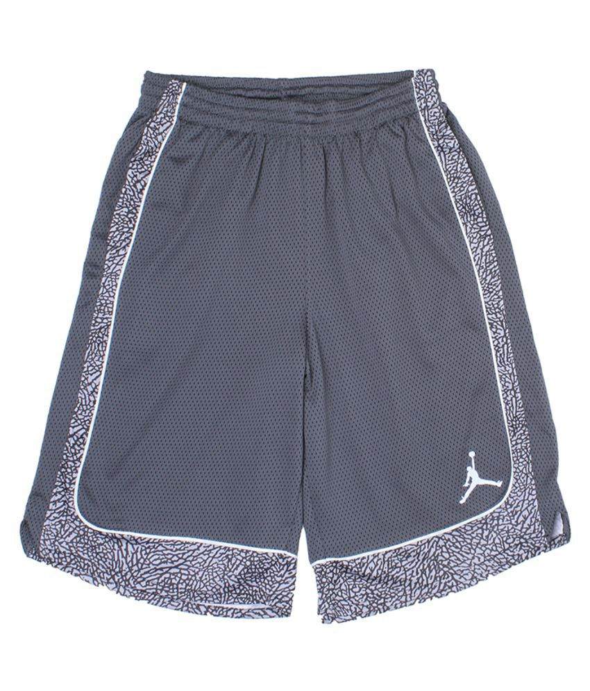 Jordan Boys Grey Solid Shorts