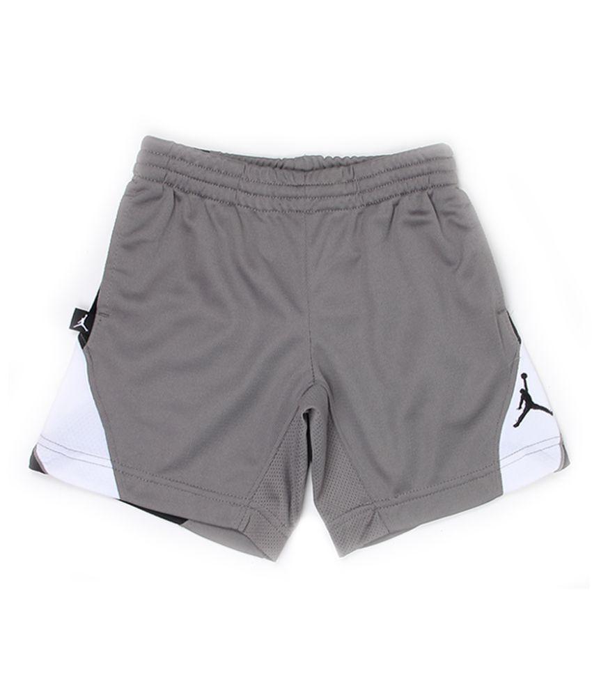 Jordan Boys Grey Solid Shorts