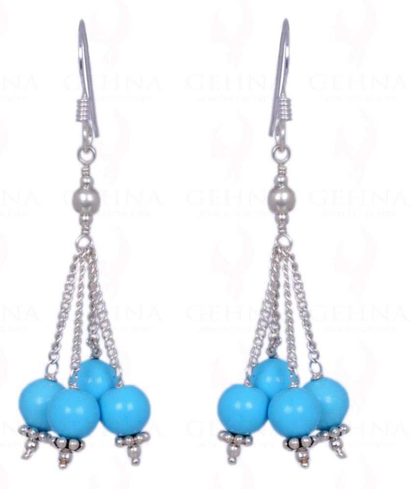 TURQUOISE GEMSTONE ROUND CABOCHON BEAD EARRINGS MADE IN .925 SOLID SILVER