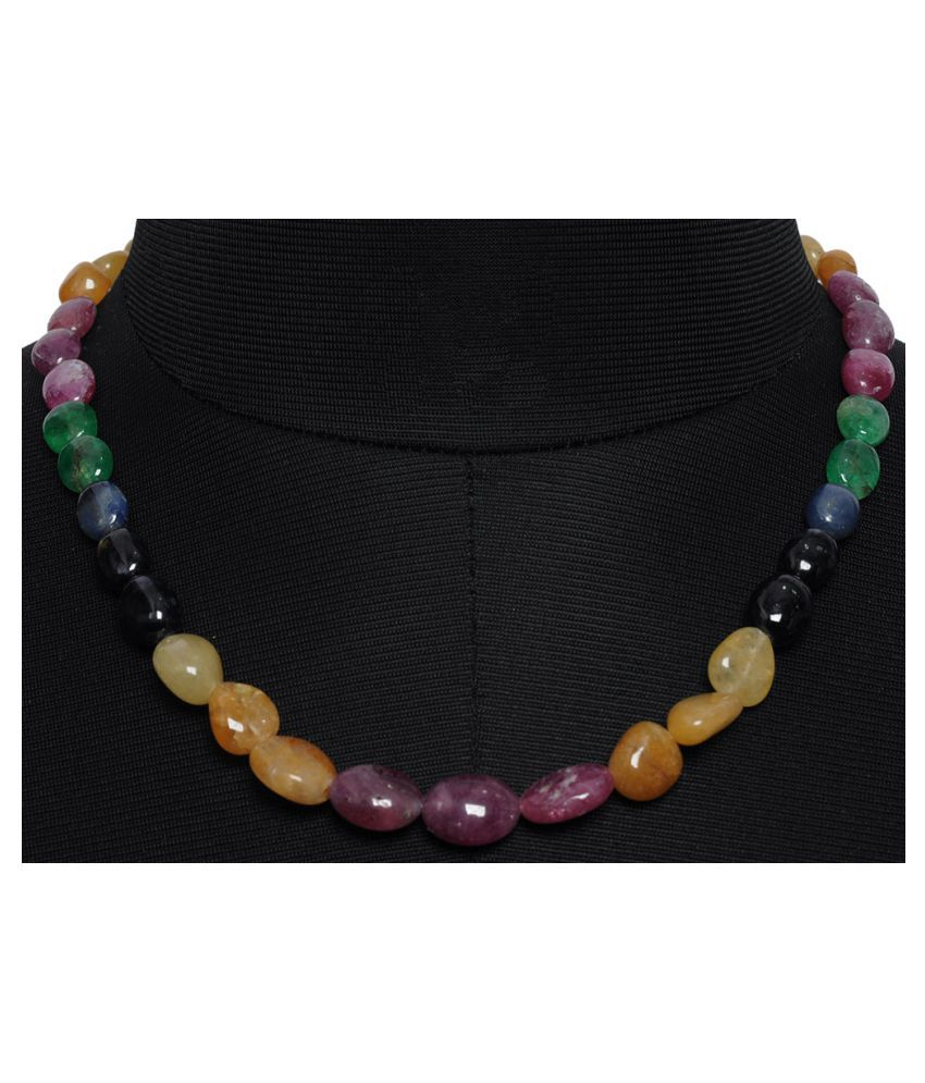 Ruby, Emerald & Sapphire Gemstone oval Shaped Necklace