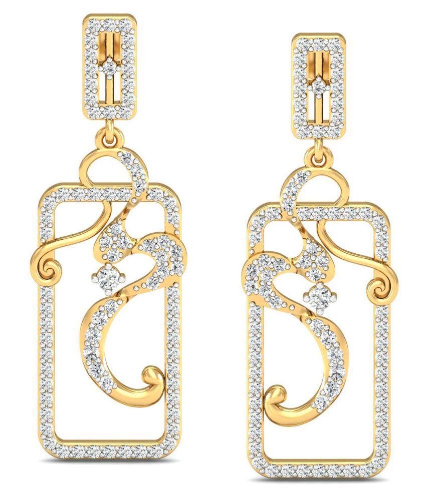Celenne By Gili 18k BIS Hallmarked Gold Diamond Drop Earrings