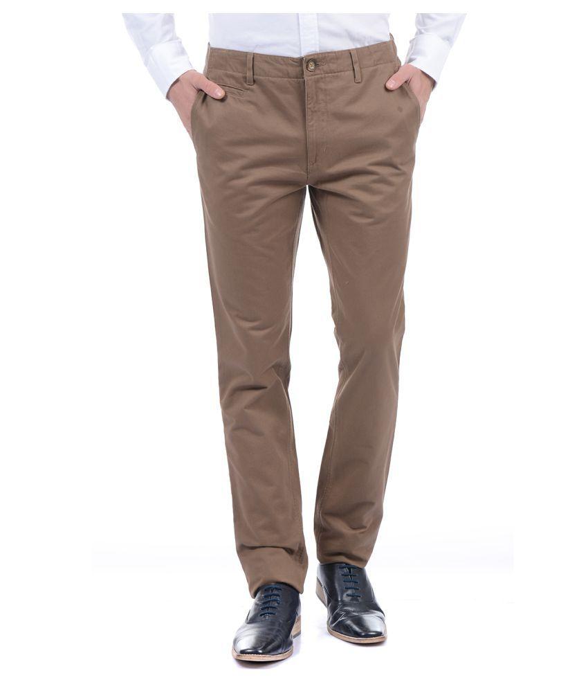 U.S. Polo Assn. Khaki Slim -Fit Flat Trousers