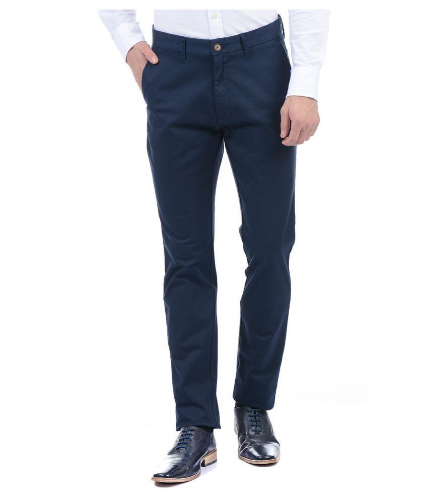 U.S. Polo Assn. Navy Blue Slim -Fit Flat Trousers