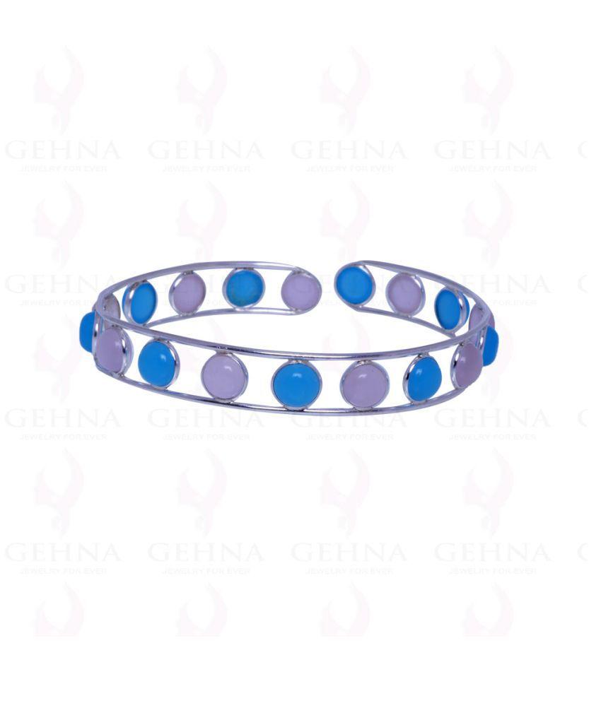 rose quartz blue chalcedony gemstone bangle/kada in .925 sterling silver