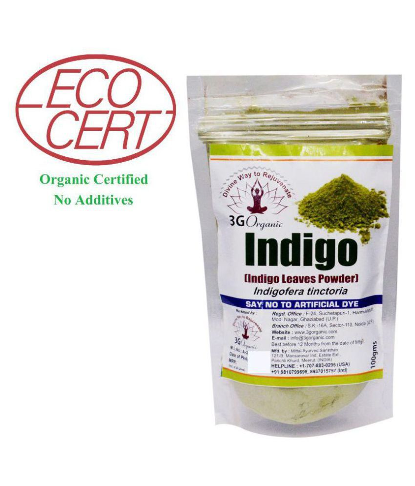 3G Organic 3G Organic Indigo Powder Temporary Hair Color Black Black 100 gm