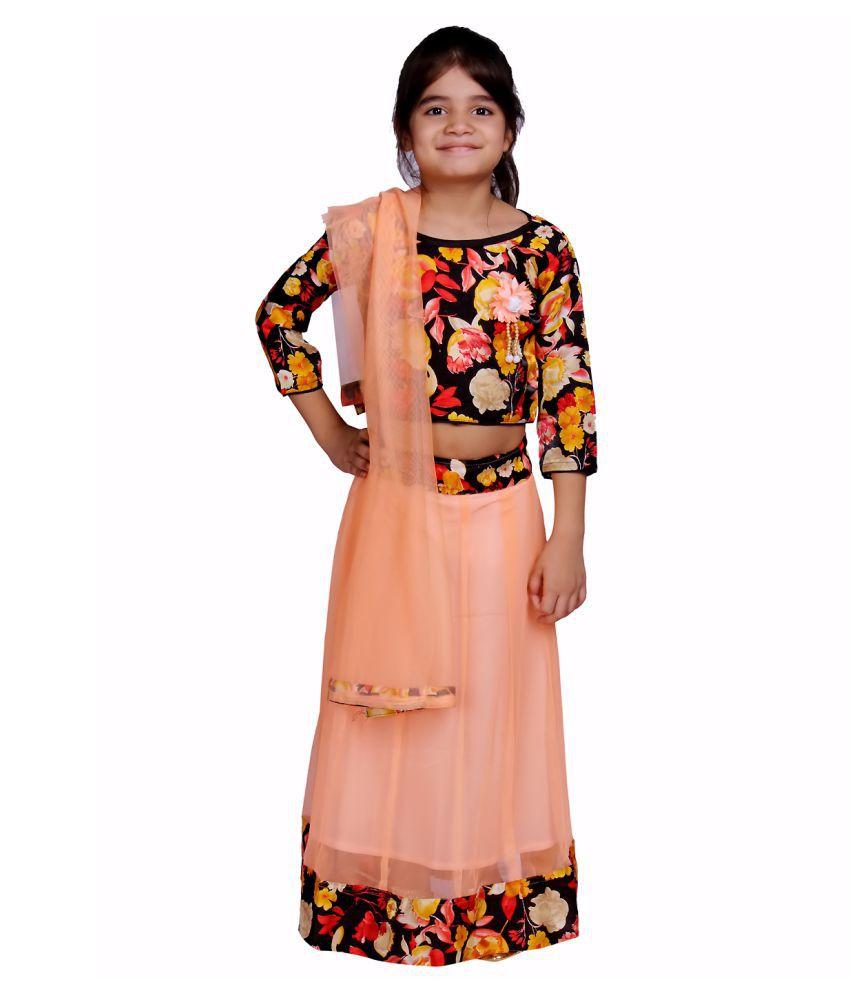 DELHIITE Girls Orange 3/4 Sleeve Traditional Dress,Lehanga Choli