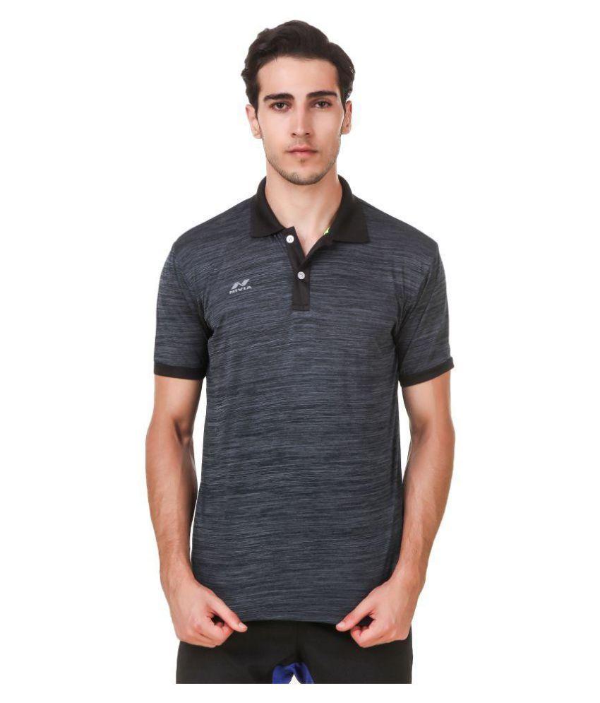 Nivia Grey Polyester T-Shirt