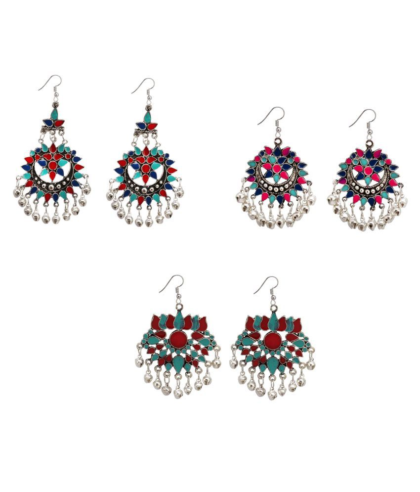 Bollywood fashion indian ethnic style jhumki pair or Multicolor earrings Jewellery Combo for Elegant Fashion Women and Girls ( Pack of 3 )