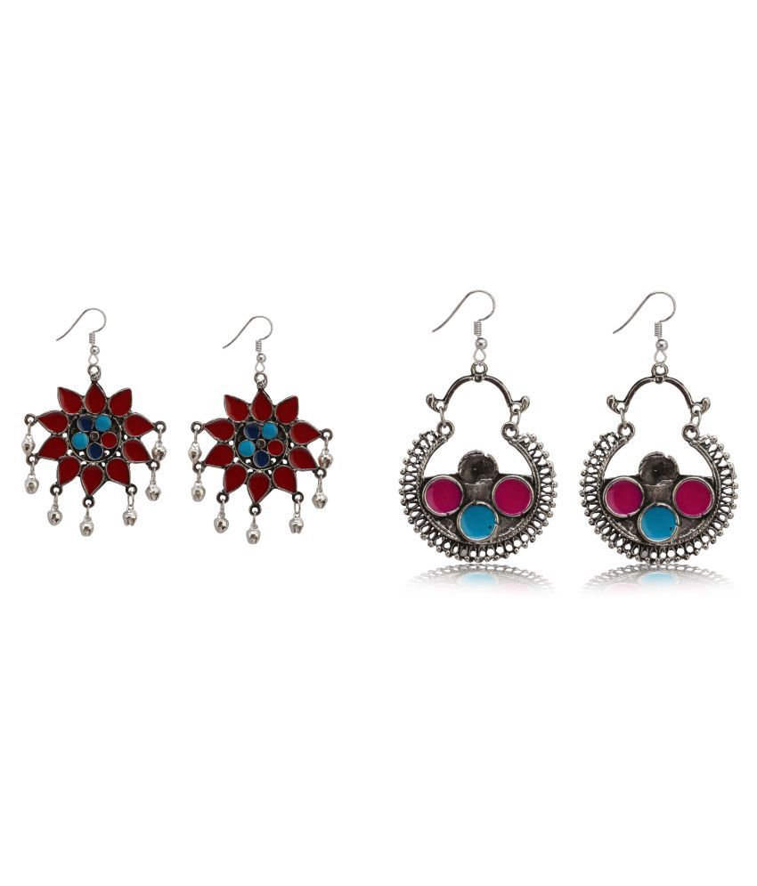 Bollywood fashion indian ethnic style jhumki pair or Multicolor earrings Jewellery Combo for Elegant Fashion Women and Girls ( Pack of 2 )