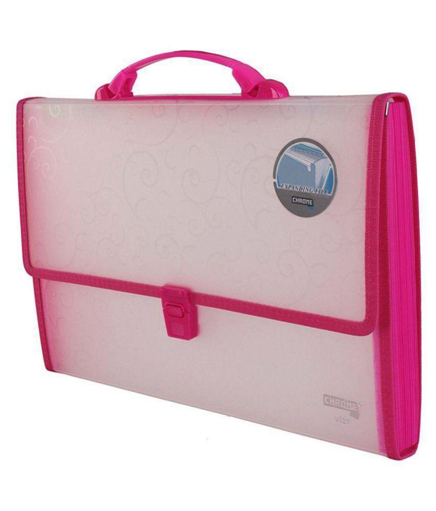 Chrome 9327 Expanding File Handle & Lock - 13 Pockets (Pink)