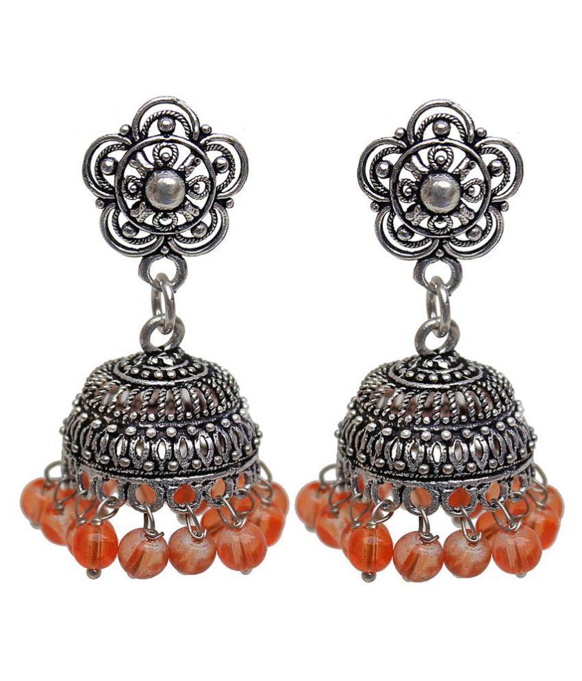 Lucky Jewellery Oxidized Black Metal Silver Oxidised Orange Pearl Jhumki Earring