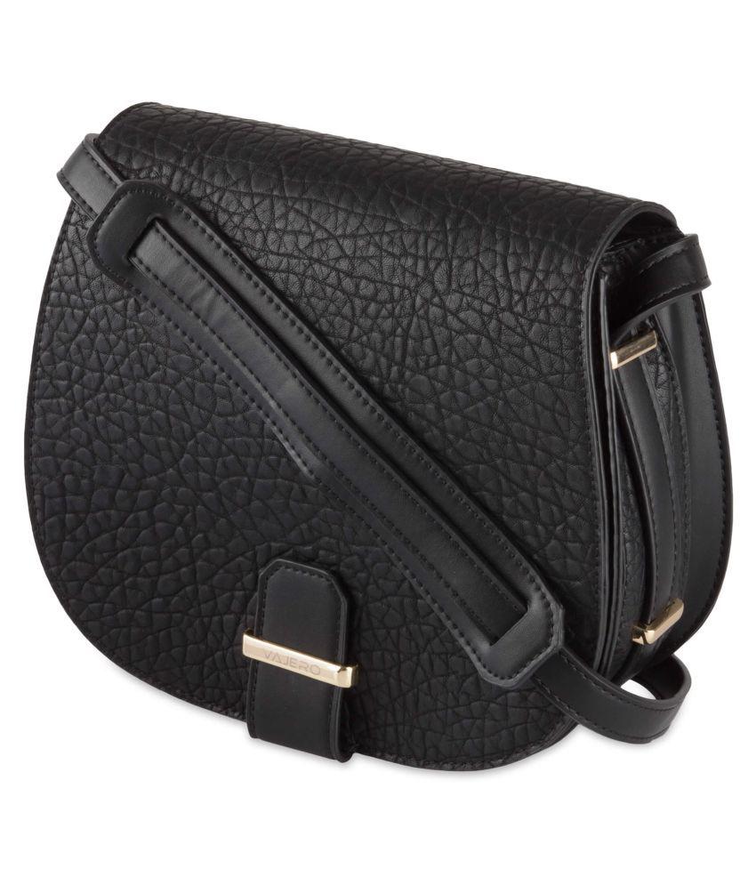 Vajero Black P.U. Casual Messenger Bag