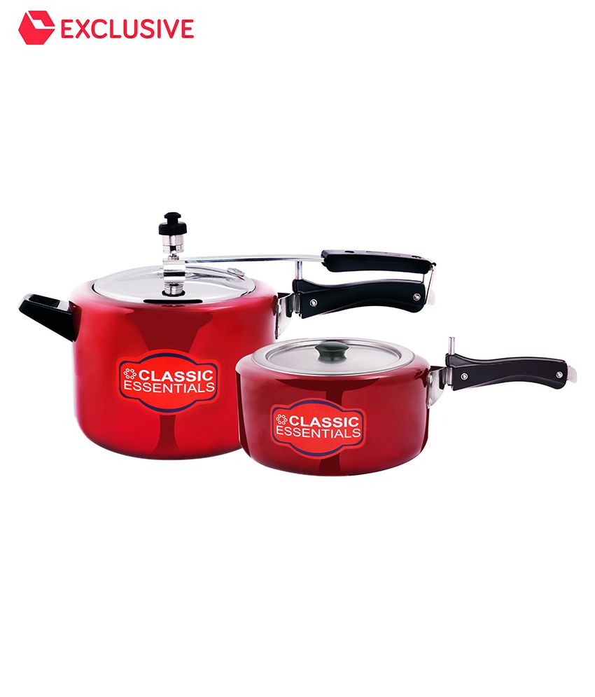 Classic Essential (3.5L+5L) Pressure Cooker Combo with Common Lid - Red