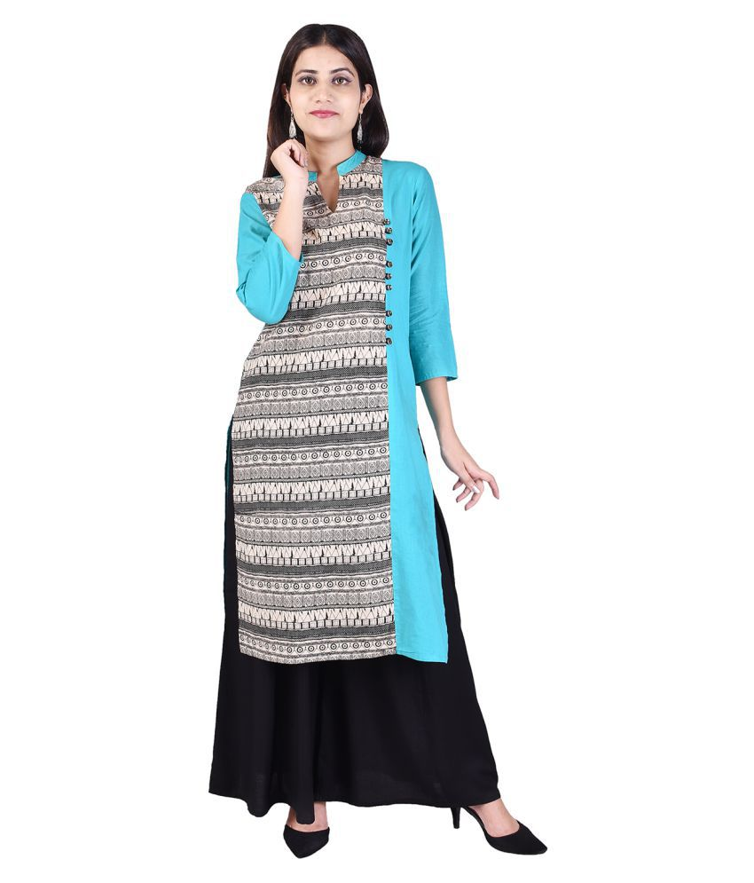Adesa Turquoise Cotton Straight Stitched Suit