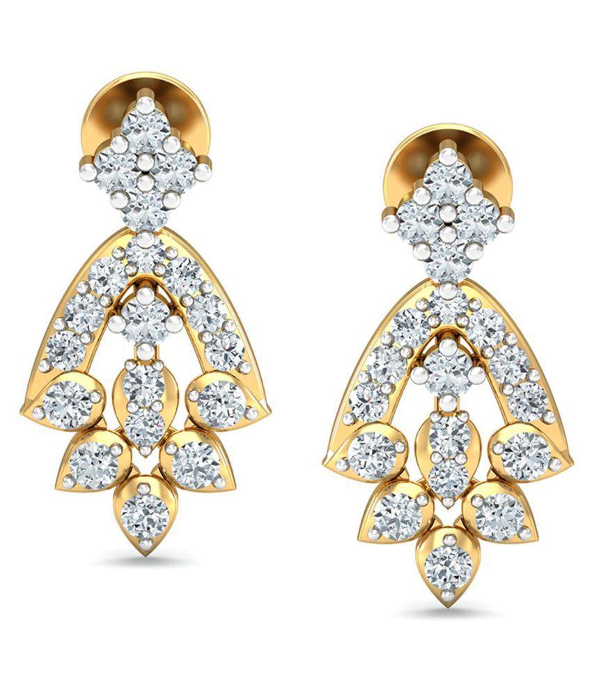 Avnni By Nakshatra 18k BIS Hallmarked Gold Diamond Drop Earrings