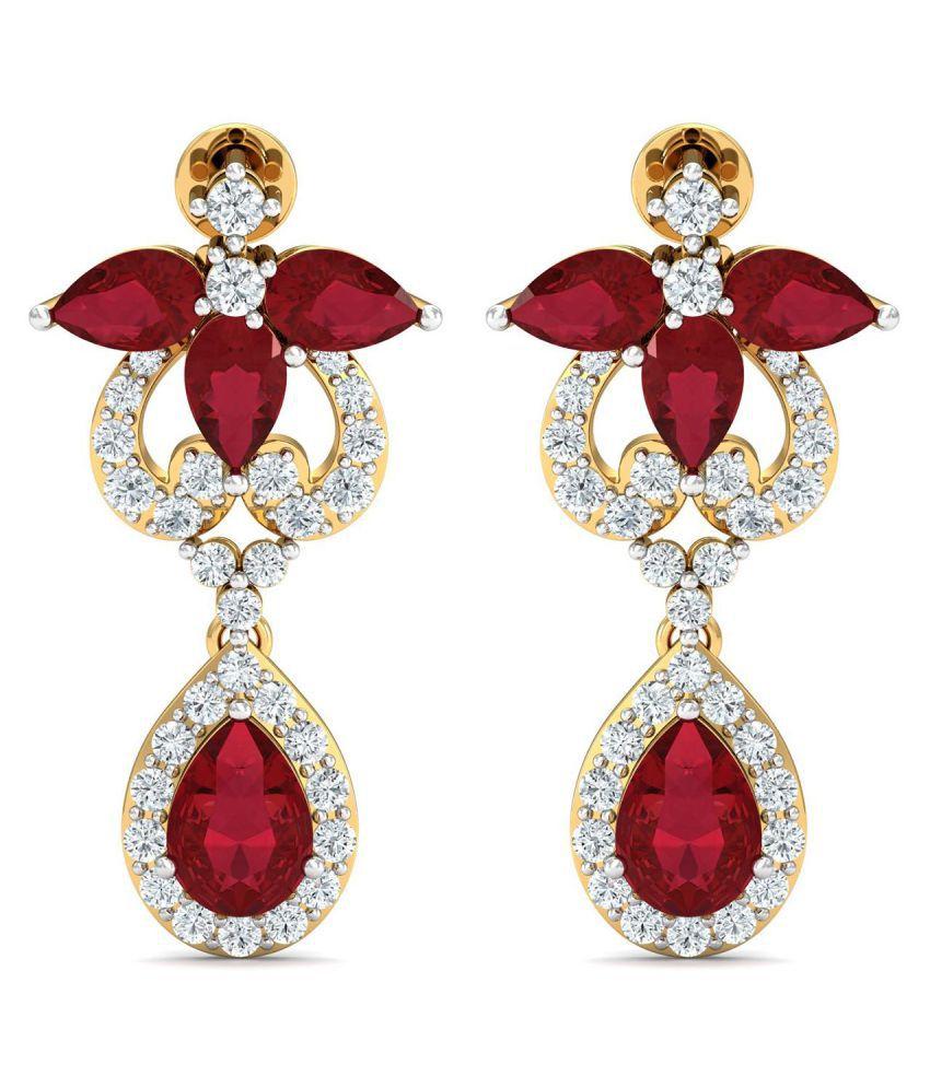 Parineeta 18k BIS Hallmarked Gold Diamond Drop Earrings