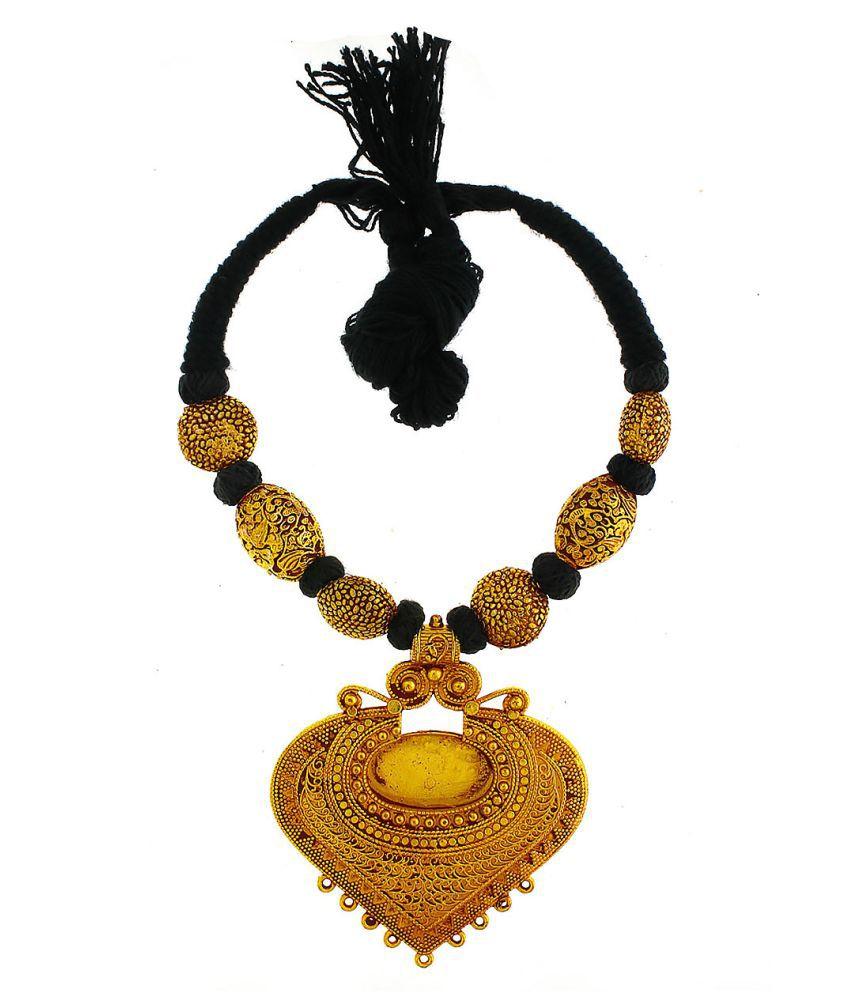 Anuradha Art Black Colour Geru Polish Very Classy Wonderful Traditional Maharashtrian/Rajasthani Necklace For Women/Girls
