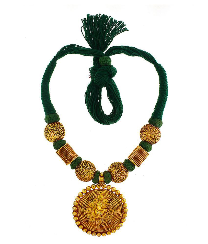 Anuradha Art Green Colour Styled With Temple Geru Polish Thewa Necklace For Women/Girls