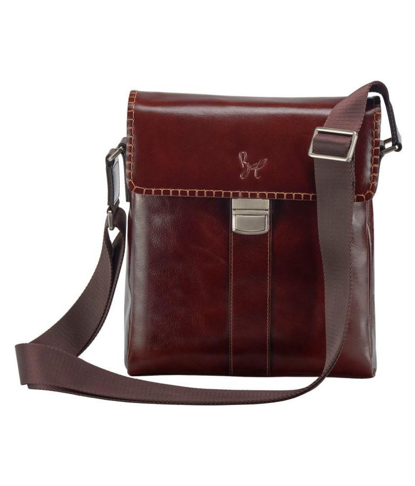 Rohit Bal Brown Leather Casual Messenger Bag
