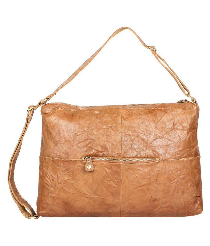 Rohit Bal Khaki Leather Casual Messenger Bag