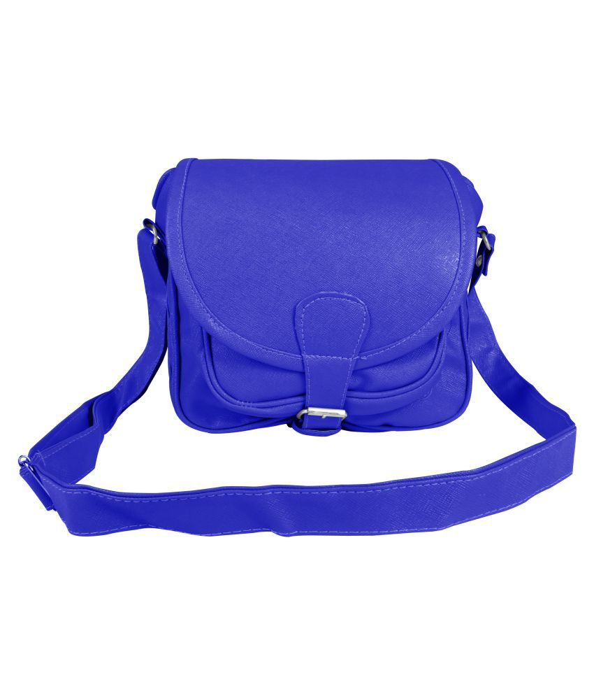 Tycos Blue Faux Leather Sling Bag