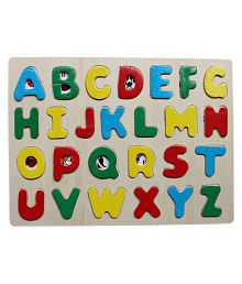 A-Z Wooden Alphabet Puzzle Board With Peg Knobs - (WNTb075)
