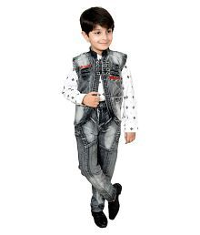 Arshia Fashions Boys Shirt Waistcoat and Jeans Set Party wear