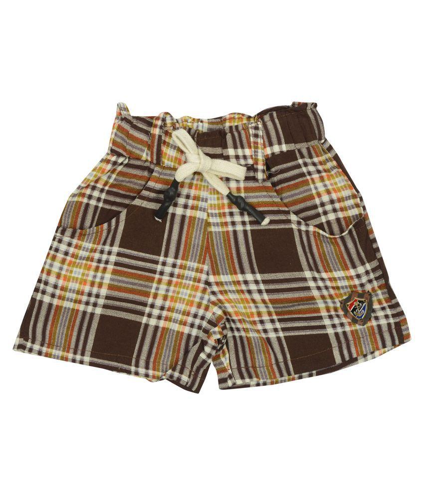 Carrel Rayon Fabric Girls Brown Short