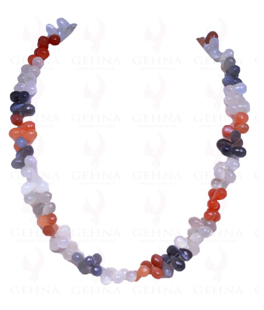 Multi Color Moonstone Faceted Drop Shaped Bead Necklace
