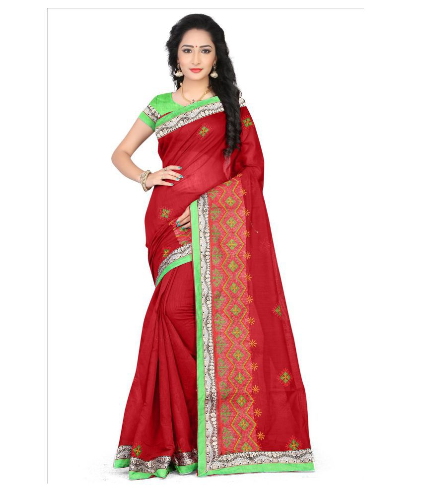 Dharma Products Red Chanderi Saree