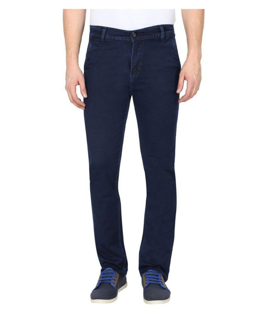 gradely Navy Blue Regular -Fit Flat Trousers