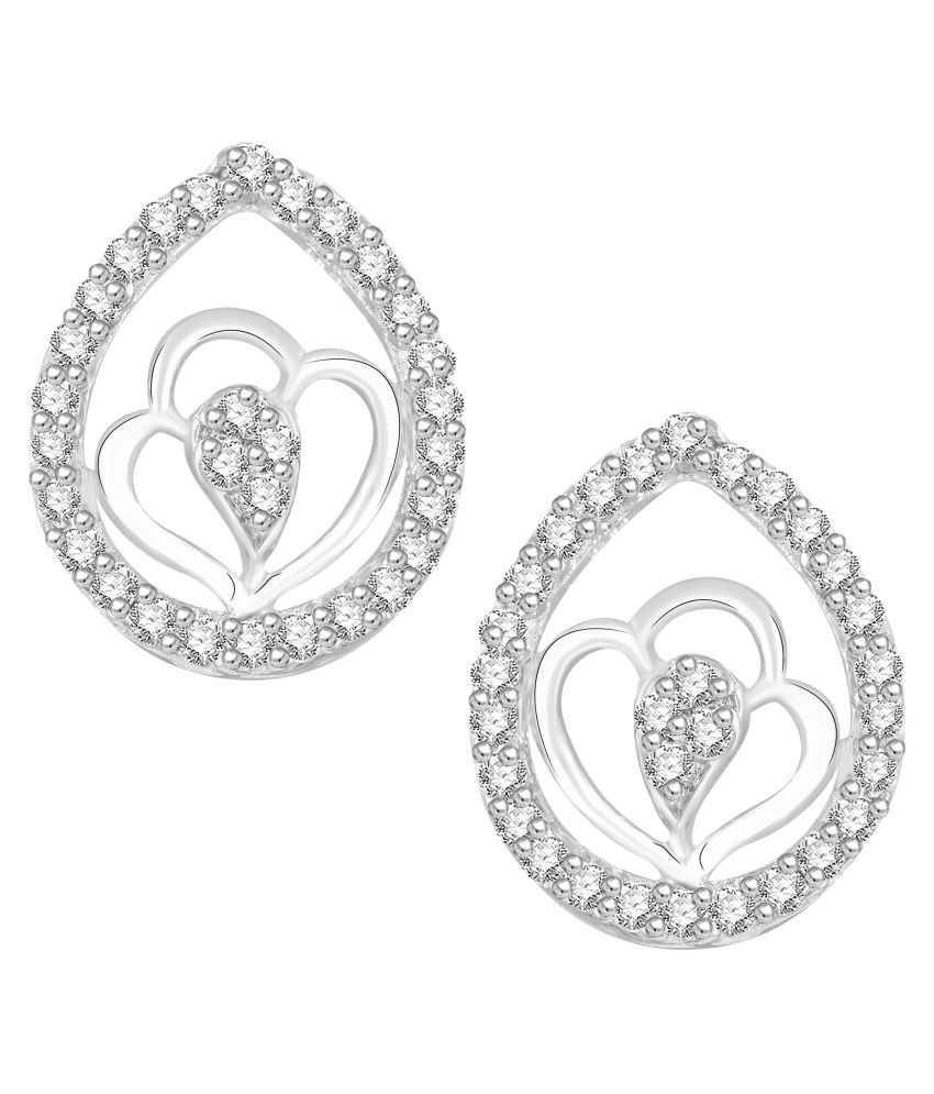 VK Jewels Elegant Rhodium Plated Alloy CZ American Diamond Stud Earrings for Women [VKER1778R]