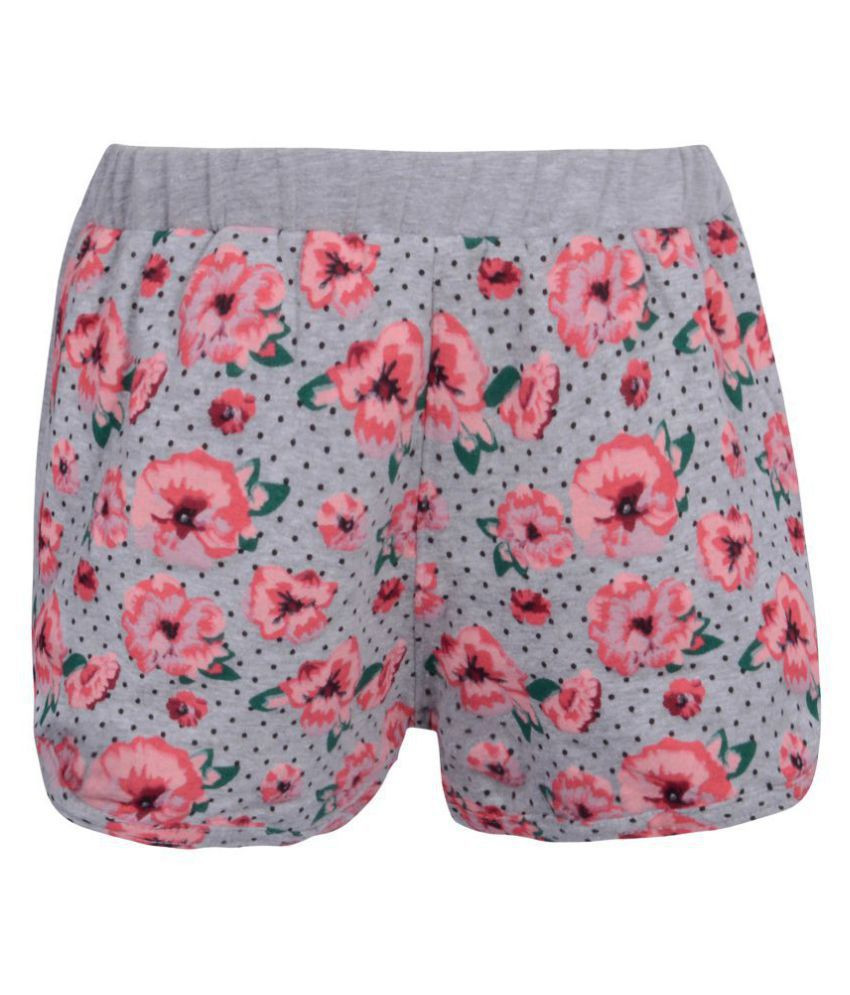 Teens Culture Girls Flower Printed Grey Shorts