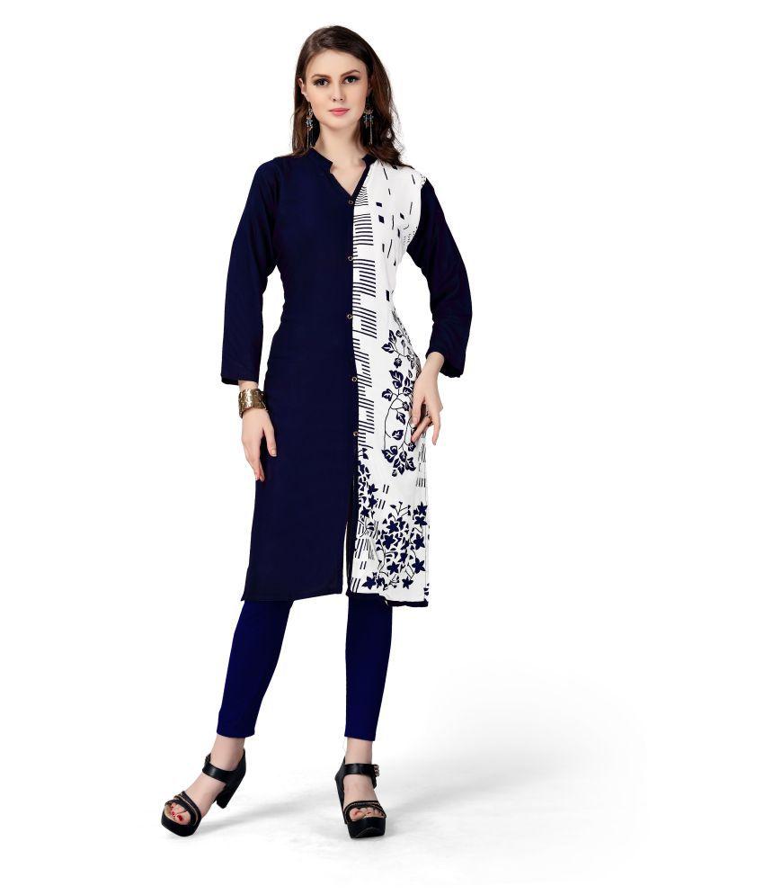 roots fashion Navy Rayon Straight Kurti