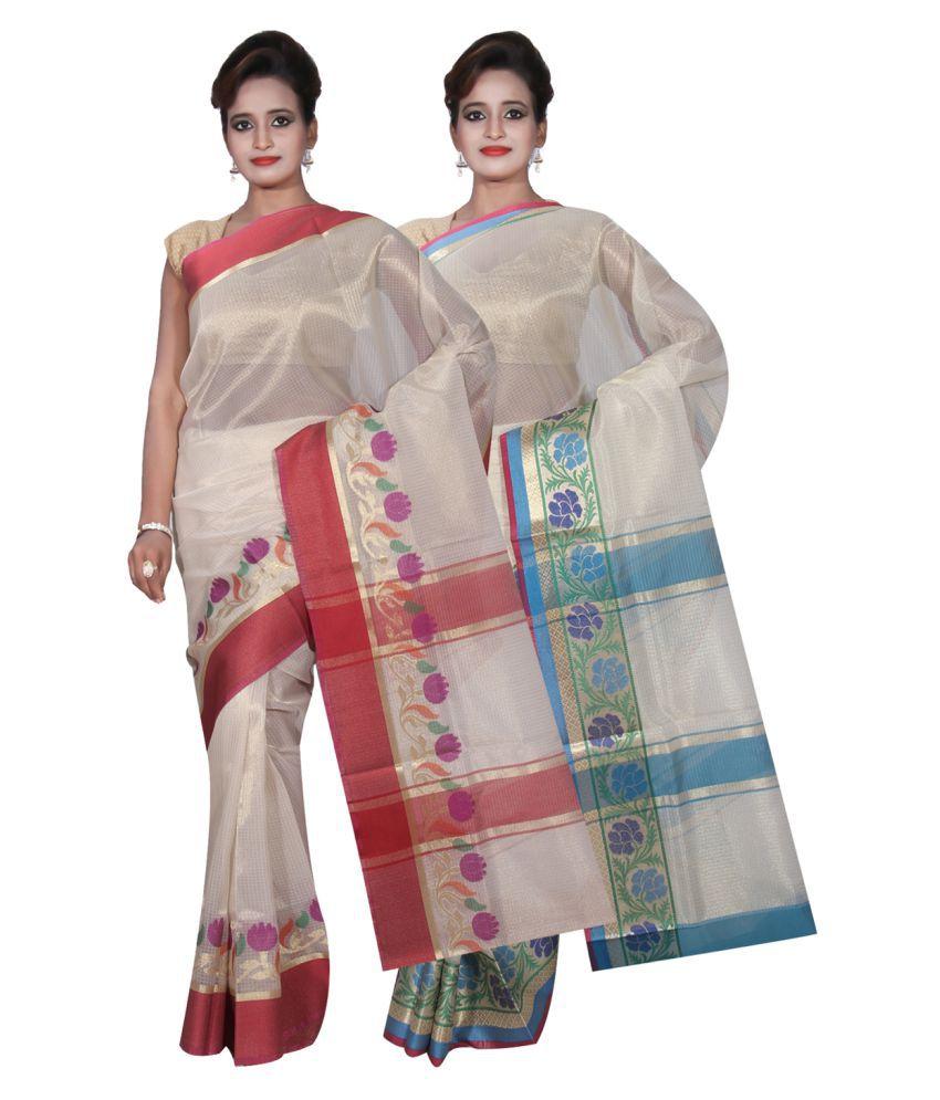 Banarasi Silk Works Off White Tissue Saree Combos
