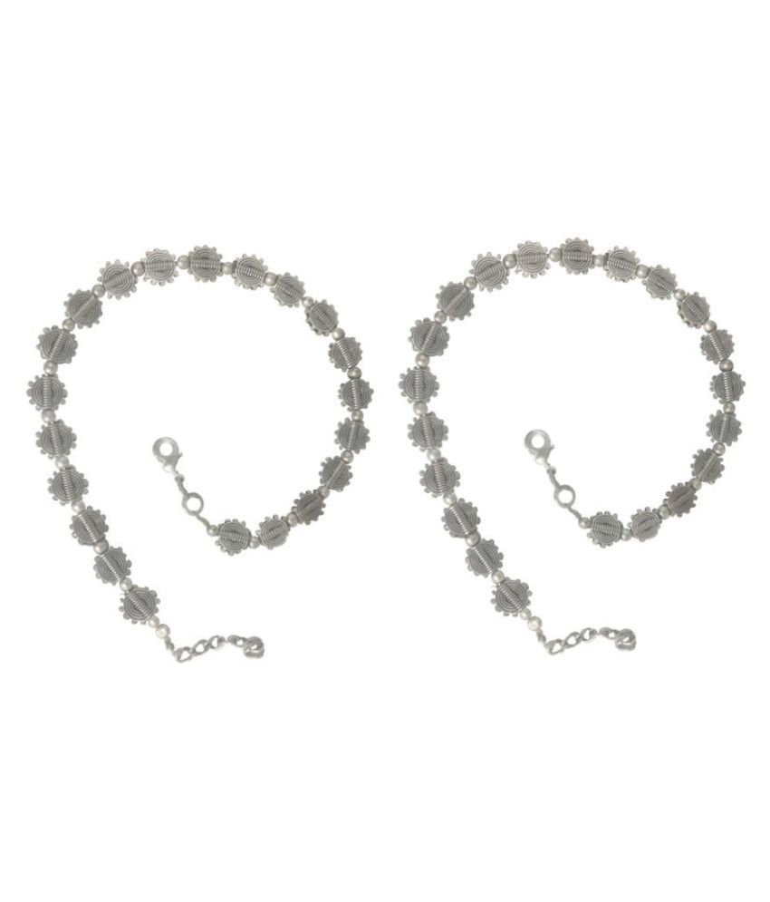 My Design Oxidised Silver Plated Designer Anklet Payal For Women And Girls